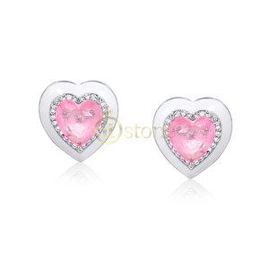 Brinco Coração Esmaltado White Quartzo Rosa Fusion