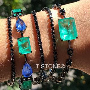 Pulseira Pedras Lapidação Mista Luxo Esmeralda Colombiana Fusion e Quartzo Azul Fusion Negra