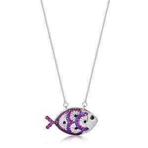 Colar Fish Cravejado Pink