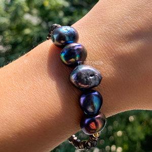 Pulseira Hematita e Black Pearls