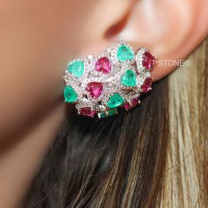 Ear Cuff Multiple Hearts Esmerala Colombiana Fusion e Turmalina Pink