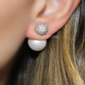 Ear Jacket Esfera e Pearl Cravejado