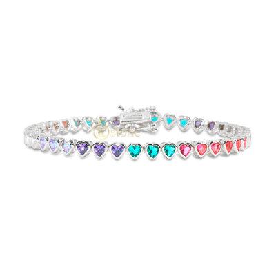 Pulseira Riviera Hearts Cravação Inglesa Rainbow