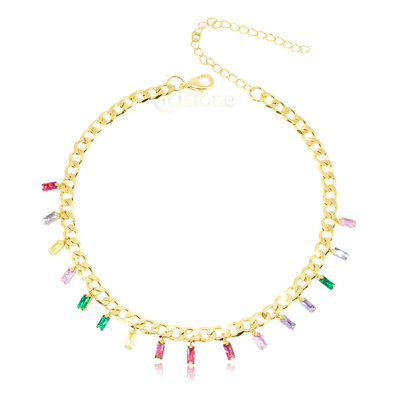 Choker Corrente Baguetes Colors Gold