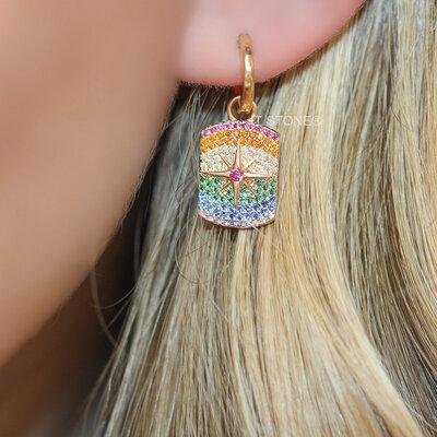 Argolinha Starburst Plaquet Rainbow Gold