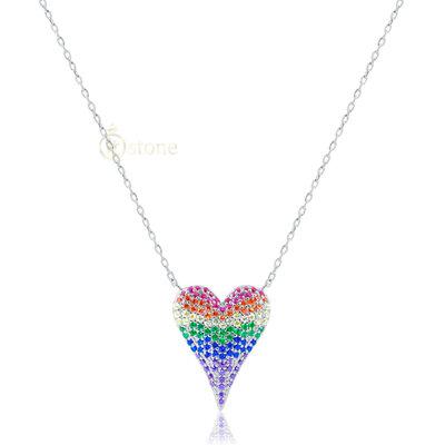 Colar Heart Pavê Rainbow