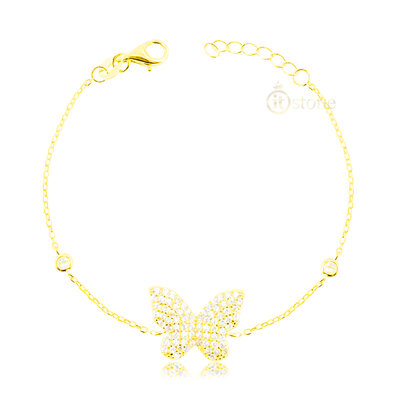 Pulseira Butterfly Cravejada Gold