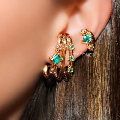 Ear Hook Triple Aros e Pedras Turmalina Translúcida Gold