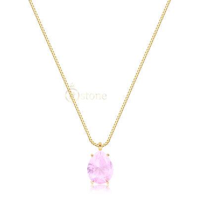 Colar Gota Dream Cristal Rosa Gold