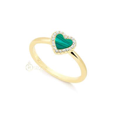 Anel Heart Malaquita Gold
