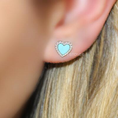 Brinco Little Heart Turquesa