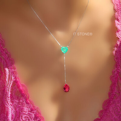 Colar Gravatinha Heart Drop Esmeralda Colombiana Fusion e Turmalina Pink