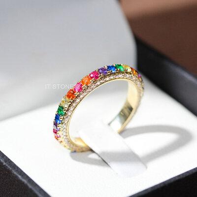 Aliança Multi Cravação Rainbow Gold