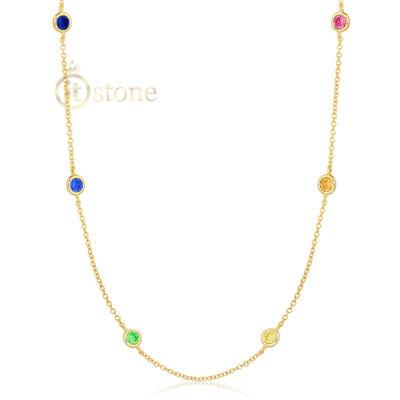 Colar Tiffy Ponto de Luz Luxo Rainbow 80cm Gold