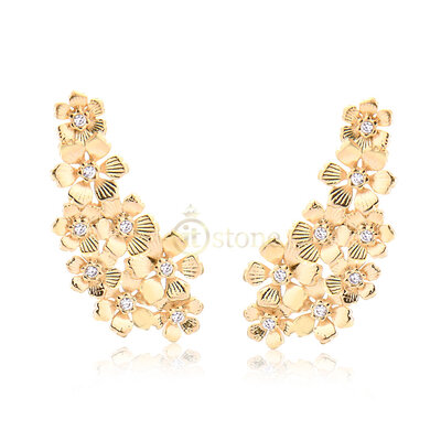 Ear Cuff Flowers Brushed Gold