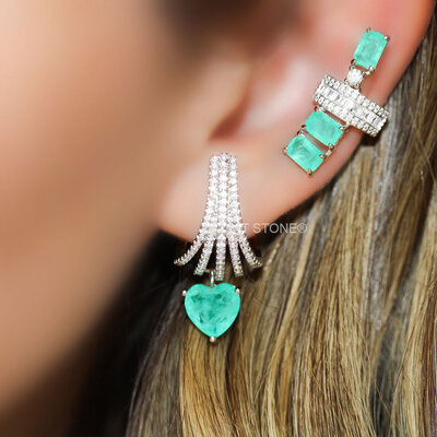 Ear Hook Fascinate Heart Esmeralda Colombiana Fusion