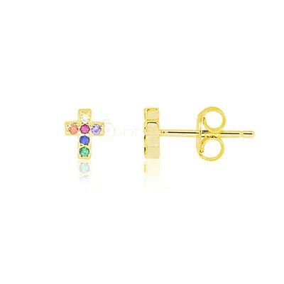 Brinco Segundo ou Terceiro Furo Cross Rainbow Gold