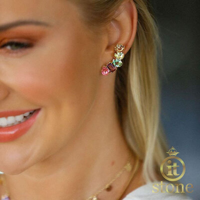 Ear Cuff Jasmine Rainbow Gold