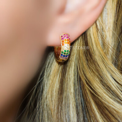 Argola Cravação Luxo Rainbow Gold