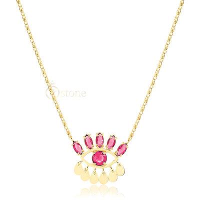 Colar Olho Pedras Turmalina Pink Gold