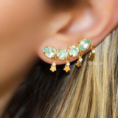 Ear Cuff Stone and Stars Água Marinha
