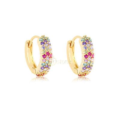 Argolinha Tripla Cravação Luxo Rainbow Gold