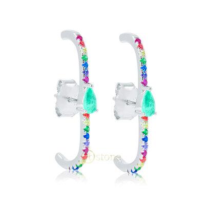 Ear Hook Gota Esmeralda Colombiana Fusion Rainbow