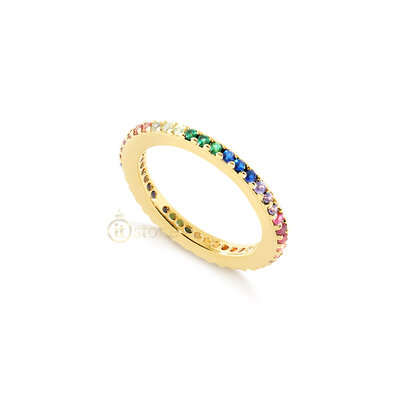Aliança Slim Rainbow Gold