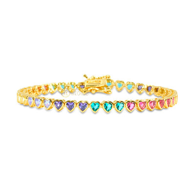 Pulseira Riviera Hearts Cravação Inglesa Rainbow Gold
