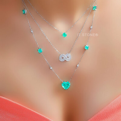 Colar Pedras Coração Esmeralda Colombiana Fusion Luxo