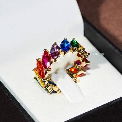 Aliança Navetes Side Rainbow Gold