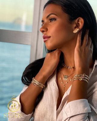 Look Isadora - Gargantilha Multi Cristais Ovais Colors