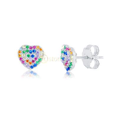 Brinco Heart Cravação Luxo Rainbow