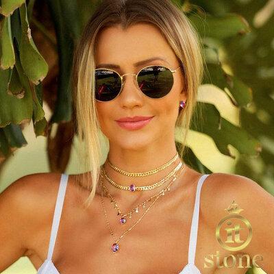 Look Ana Paula Siebert - Choker Chain Oval Ametista