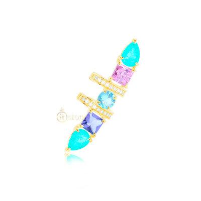 Piercing Falso Pedras Colors Luxo Gold (unidade)