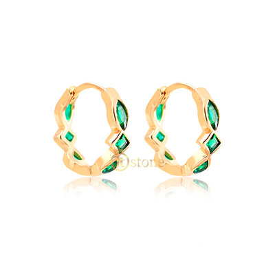 Argolinha Multi Lapidações Esmeralda Gold