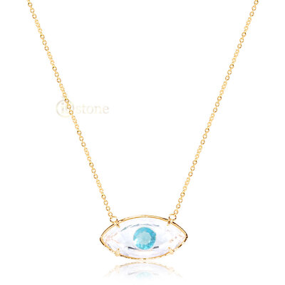 Colar Olho Crystal Clear Gold