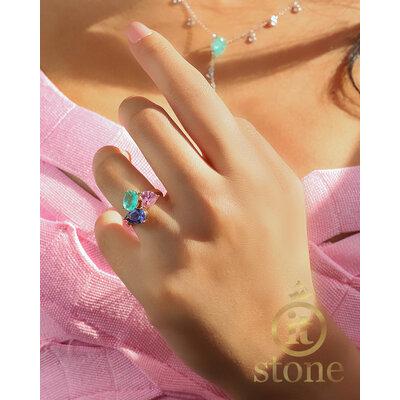 Anel 3 Stones Luxo Gold