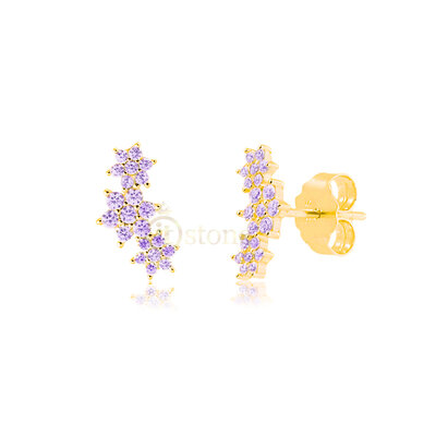 Brinco Triple Flowers Ametista Gold
