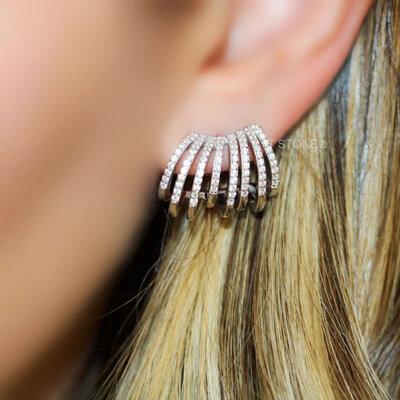 Ear Cuff Aros Cravejados Luxo