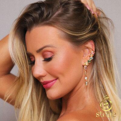 Ear Cuff Multi Lapidação Dangle Colors Gold