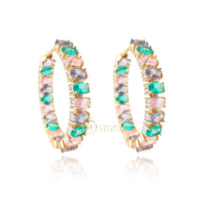 Argola Pedras Ovais Colors