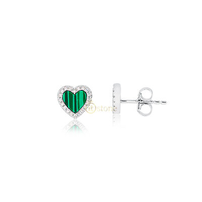 Brinco Little Heart Malaquita