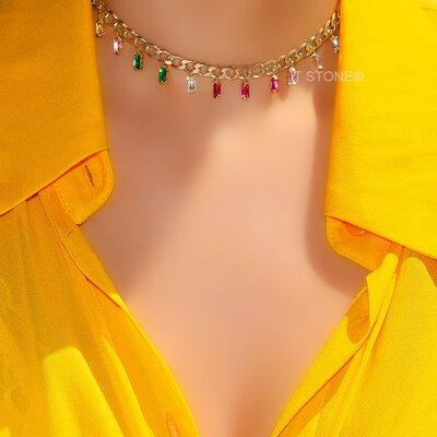 Choker Corrente Baguetes Colors Gold