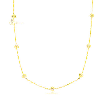 Colar Multi Hearts Longo 80cm Gold