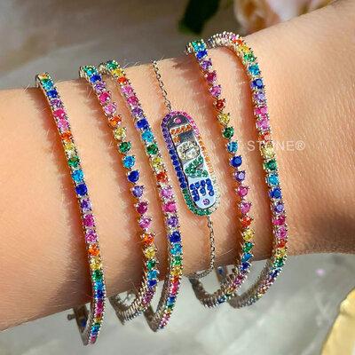 Pulseira Riviera Quadradinha Rainbow