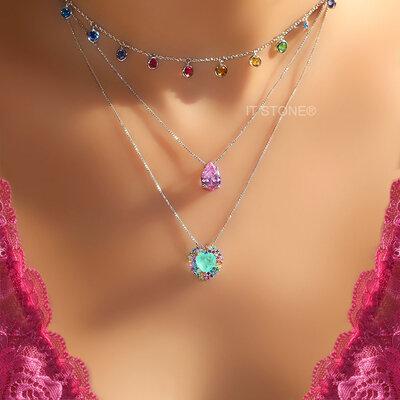 Colar Coração Cravação Luxo Esmeralda Colombiana Fusion Rainbow