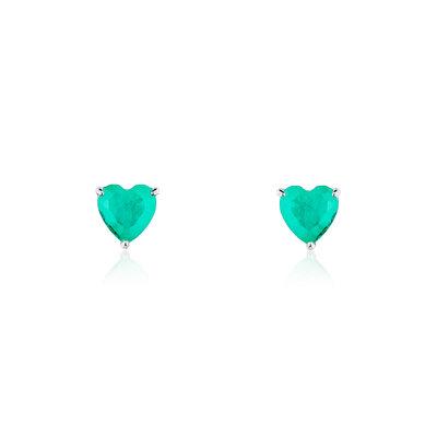 Brinco Simple Heart Esmeralda Colombiana Fusion