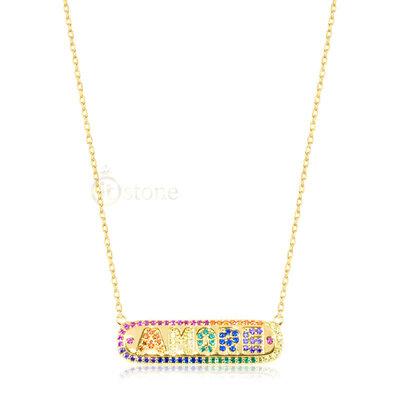 Colar Plaquet Amore Rainbow Gold