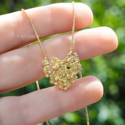 Colar Coração Brushed Flowers Gold